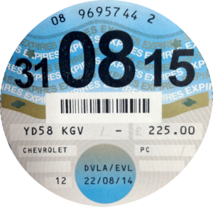DVLA-Issed Car Tax Disc