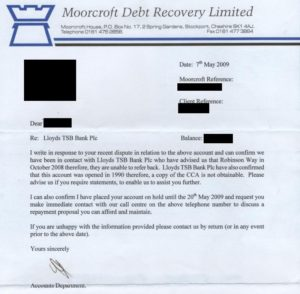 Moorcroft Debt Recovery Letter