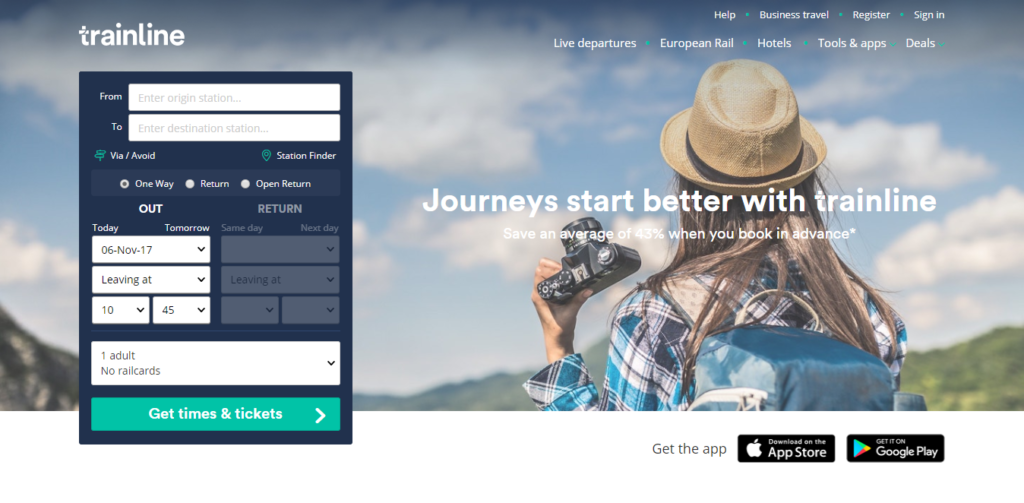 Trainline Website